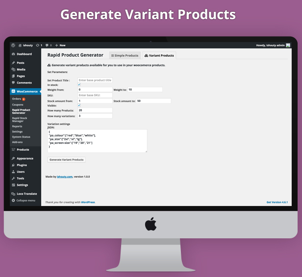 rapid product generator - generate simple and variants stock in seconds