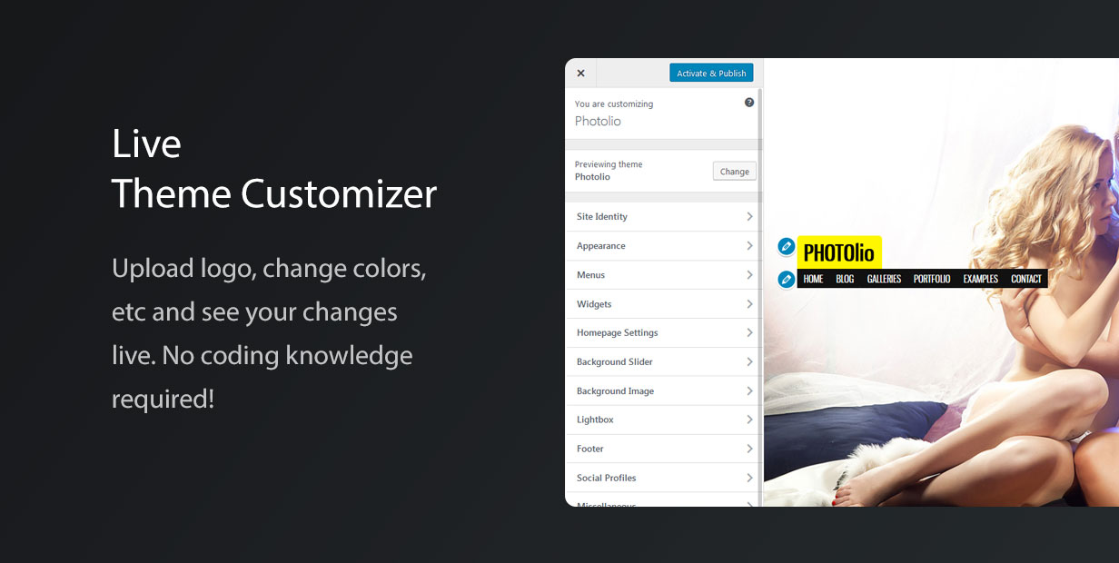 Photolio WordPress Theme Options