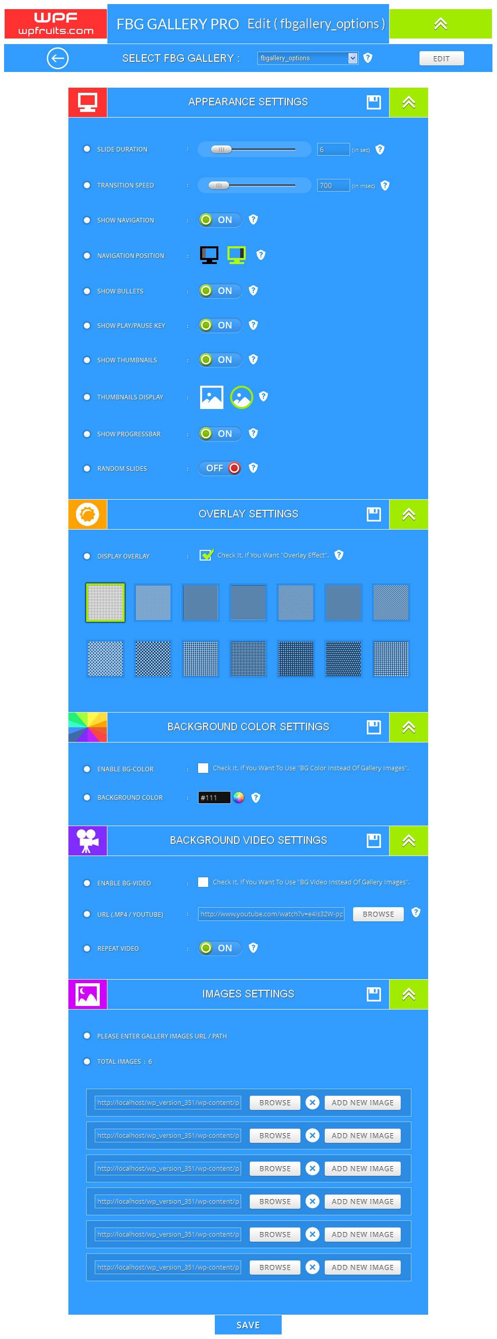 Full width background gallery wordpress Plugin settings