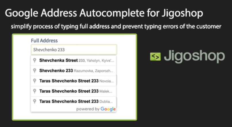 Google Address Autocomplete for Jigoshop