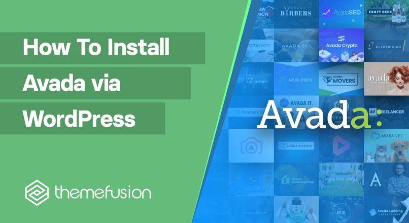 How To Install Avada via WordPress