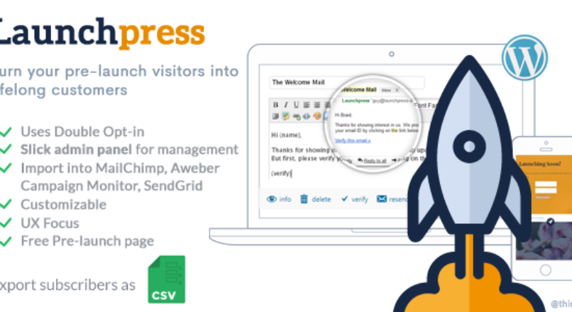 Launchpress: Upcoming Site Launch WP Plugin with Subscription Management & Double Opt-in