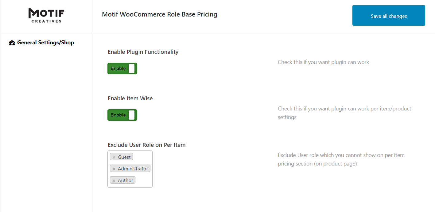 WooCommerce User Role Based Plugin