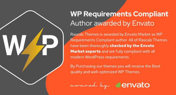 Rascals Themes is awarded by Envato Market as WP Requirements Compliant author