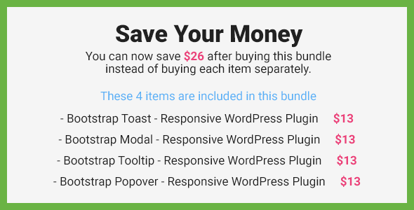 Bootstrap Overlay Components Responsive WordPress Plugin Save Now Banner