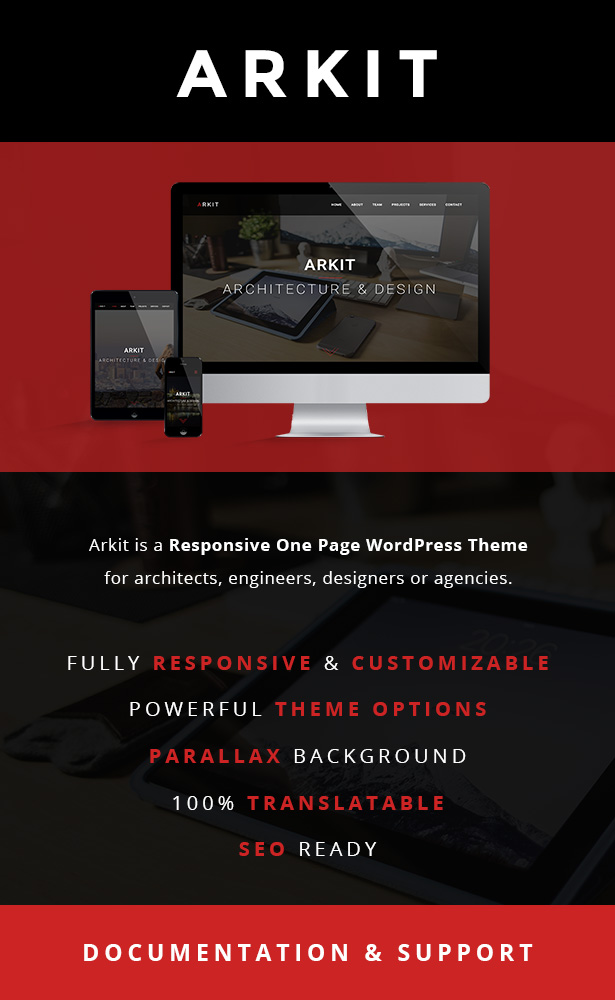 Arkit - Responsive One Page WordPress Theme