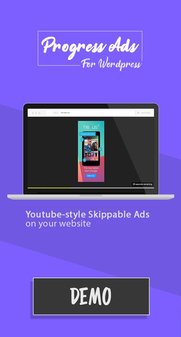Progress Ads - WordPress Skippable Ads Plugin - 2