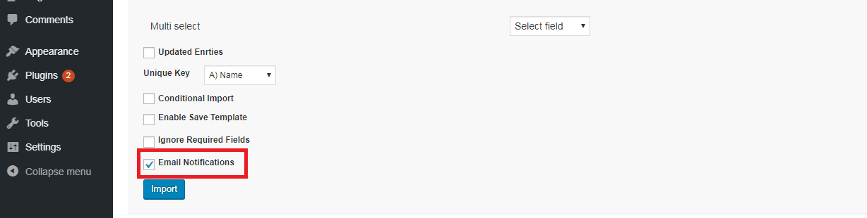 Admin notifications