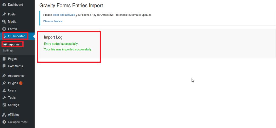 GF Importer_Finish import log
