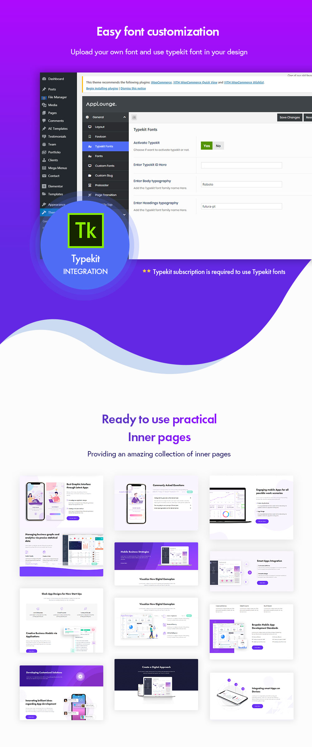 Applounge Presentation Fonts Customization