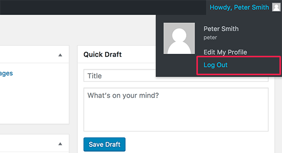 WP admin bar user drop-down menu