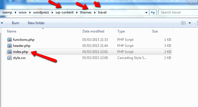 screenshot of child theme folder with index.php