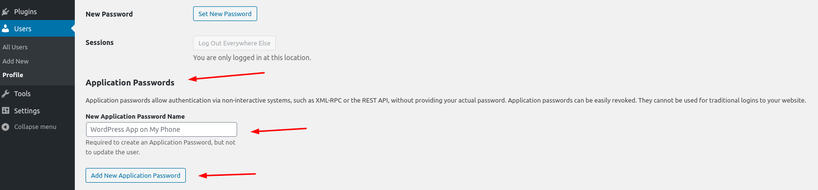 Application Passwords
