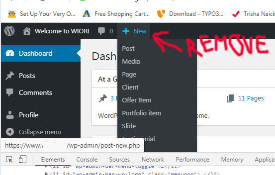 How to remove top menu item - admin backend wp
